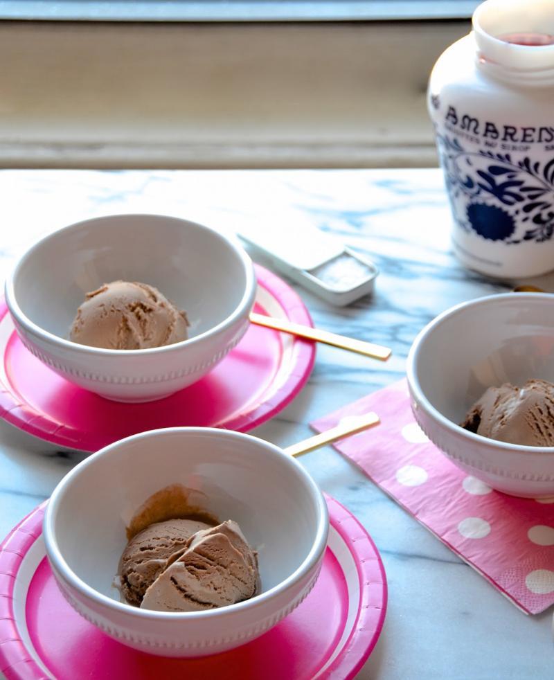 Chocolate Ice Cream with Italian Cherries