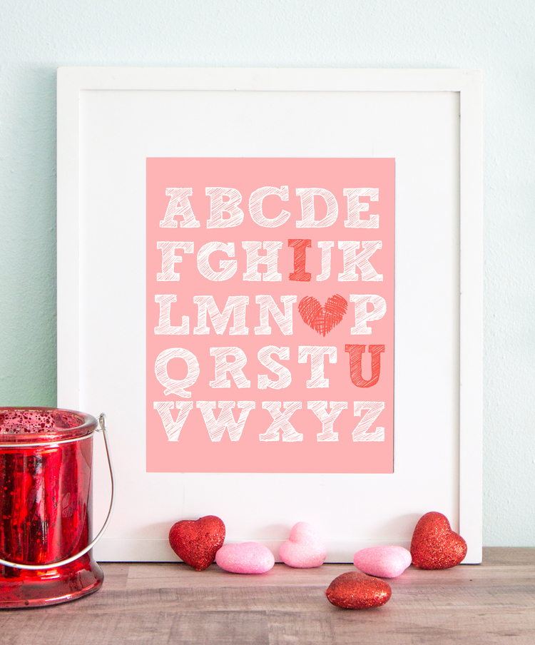 Free Printable Valentine's Day I Heart U Art